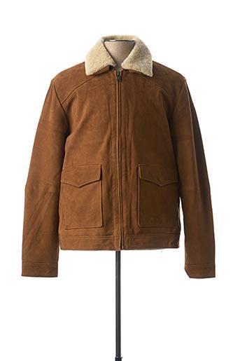 Veste en cuir marron SELECTED pour homme