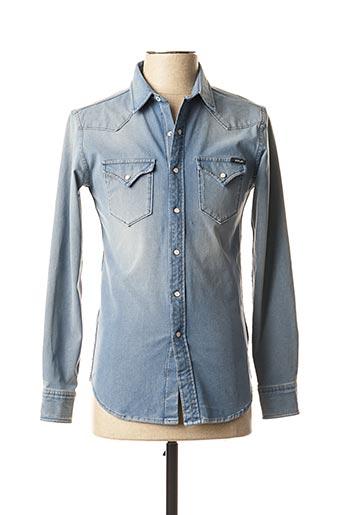 Chemise manches longues bleu REPLAY pour homme