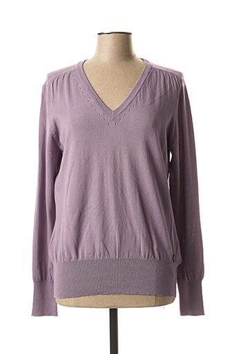 Pull col V violet BRANDTEX pour femme