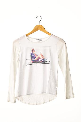 T-shirt manches longues blanc LE TEMPS DES CERISES pour fille