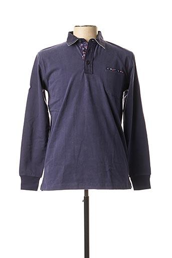 Polo manches longues bleu CAMBERABERO pour homme