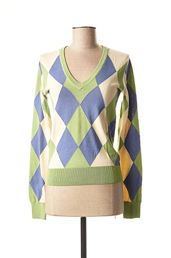 Pull col V vert FRED PERRY pour femme