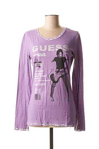 T-shirt manches longues violet GUESS pour femme
