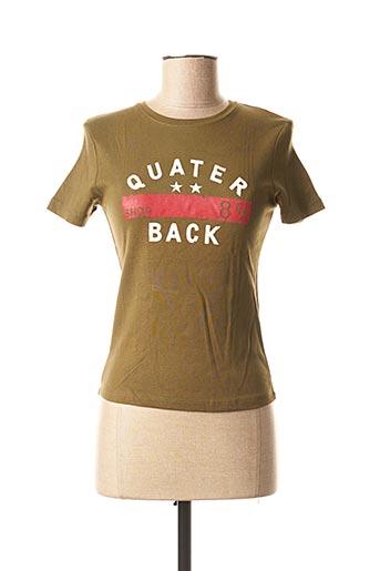 T-shirt manches courtes vert KARIBAN pour femme