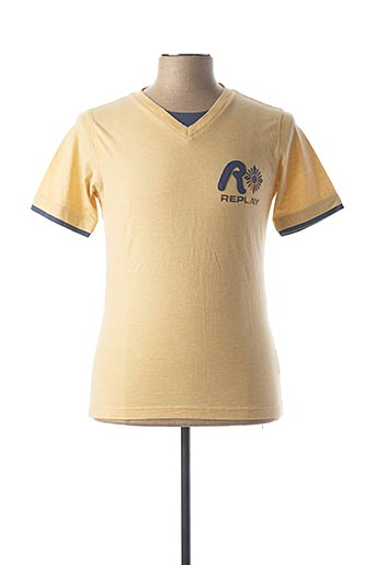 T-shirt manches courtes beige REPLAY pour homme