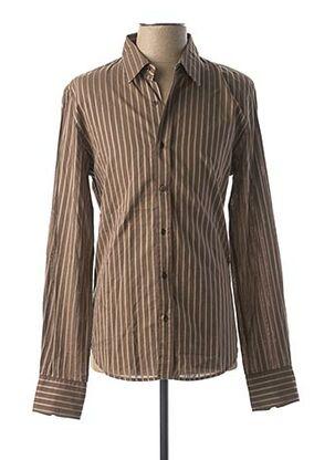 Chemise manches longues marron IKKS pour homme