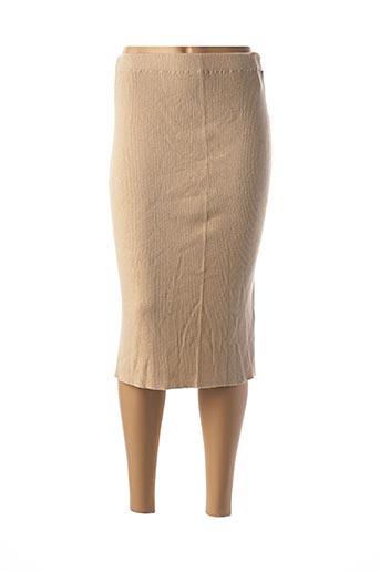 Jupe mi-longue beige ANIMALE pour femme