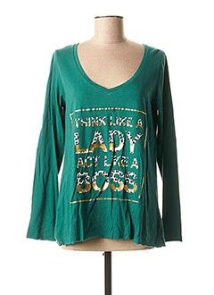 T-shirt manches longues vert LYNNE pour femme