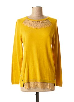 Pull col rond jaune FRED SABATIER pour femme