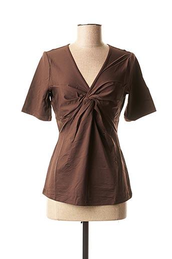 T-shirt manches courtes marron PATRIZIA DINI pour femme