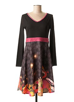 Robe mi-longue noir ANATOPIK pour femme