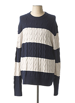Pull col rond bleu TOMMY HILFIGER pour homme