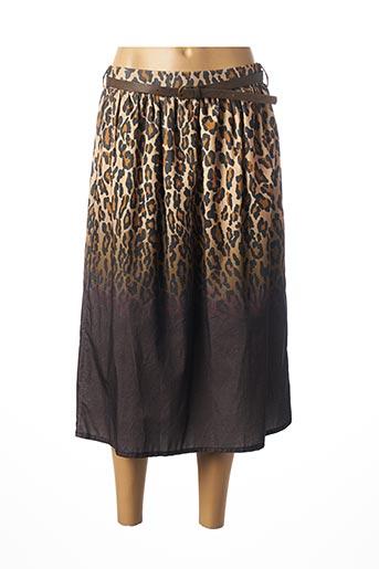 Jupe mi-longue beige DIXIE pour femme