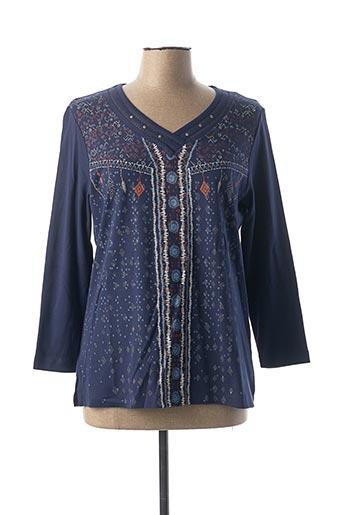 T-shirt manches longues bleu BAGORAZ pour femme
