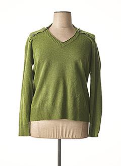 Pull col V vert PERSONA pour femme