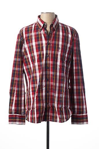 Chemise manches longues rouge BUGATTI pour homme