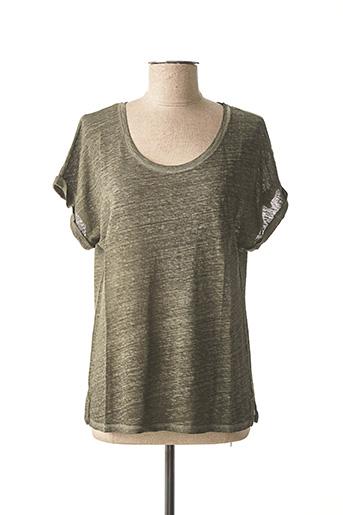 T-shirt manches courtes vert LAUREN VIDAL pour femme