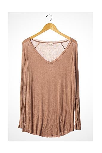 T-shirt manches longues marron AMERICAN VINTAGE pour femme