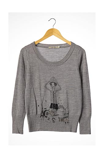 Pull col rond gris ANNA PEPE pour femme