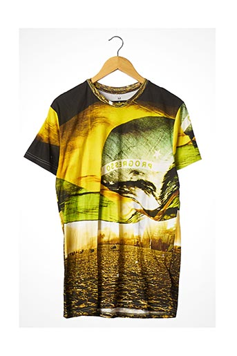 T-shirt manches courtes jaune ELEVEN PARIS pour homme