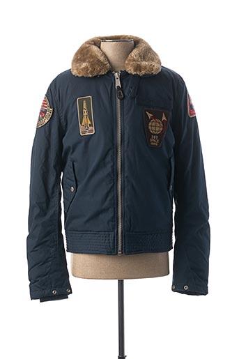 Manteau court bleu SCHOTT pour homme
