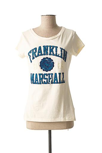 T-shirt manches courtes beige FRANKLIN MARSHALL pour femme