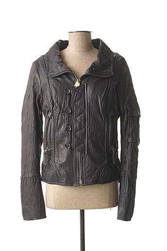 Veste en cuir noir FIRETRAP pour femme