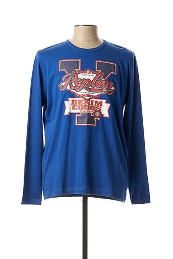 T-shirt manches longues bleu REPLAY pour homme