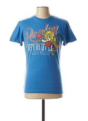 T-shirt manches courtes bleu REPLAY pour homme