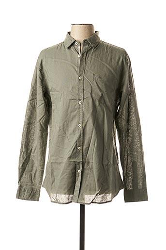 Chemise manches longues vert TIBET pour homme