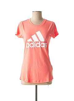 T-shirt manches courtes orange ADIDAS pour fille