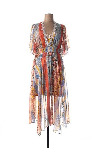 Robe longue orange LESLIE pour femme