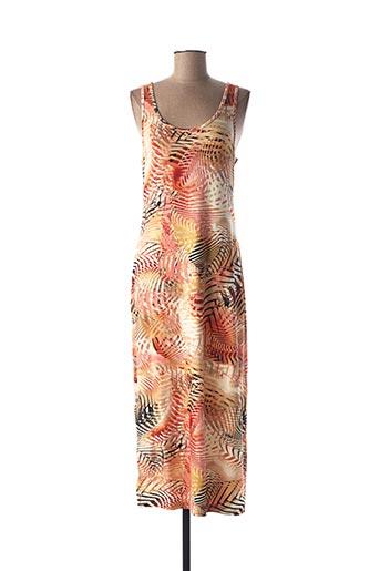 Robe mi-longue orange GEISHA pour femme
