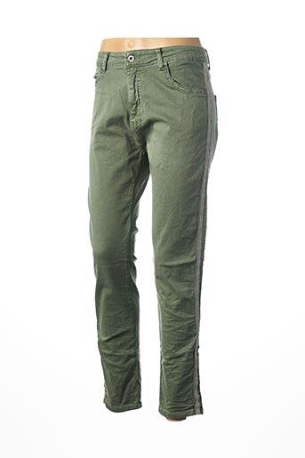 Pantalon 7/8 vert MELLY & CO pour femme