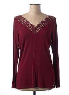 T-shirt manches longues rouge MORGAN pour femme