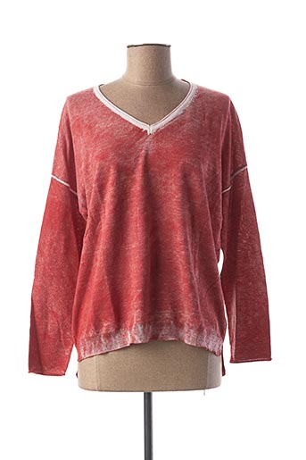 Pull col V rouge ET COMPAGNIE pour femme