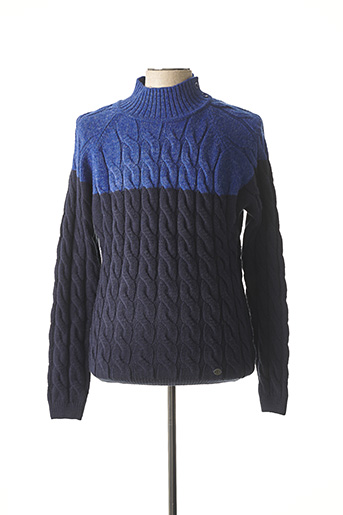 Pull col cheminée bleu RECYCLED ART WORLD pour homme