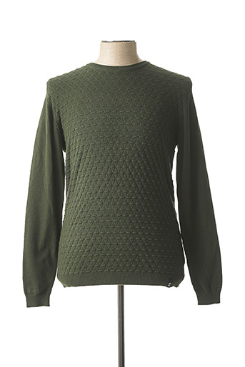 Pull col rond vert RECYCLED ART WORLD pour homme