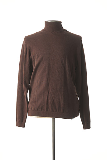 Pull col roulé marron RECYCLED ART WORLD pour homme
