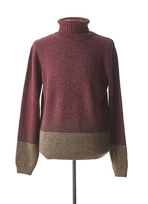Pull col roulé rouge RECYCLED ART WORLD pour homme