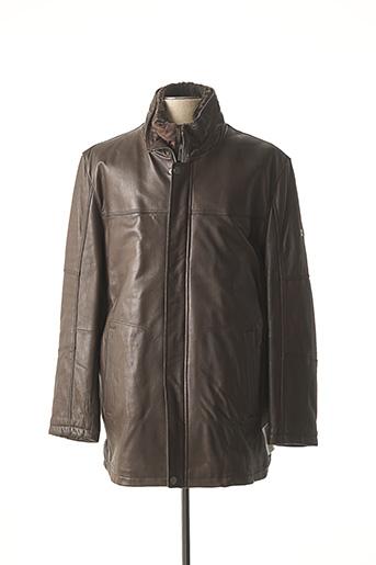 Veste en cuir marron TRAPPER pour homme