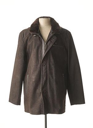 Veste en cuir marron M.E.N.S pour homme