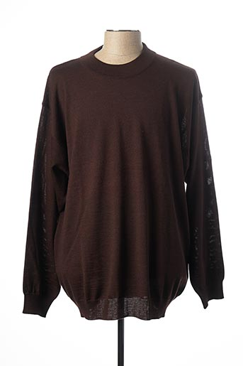 Pull col rond marron MONTE CARLO pour homme