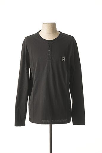 T-shirt manches longues noir QUINZE & TREIZE pour homme