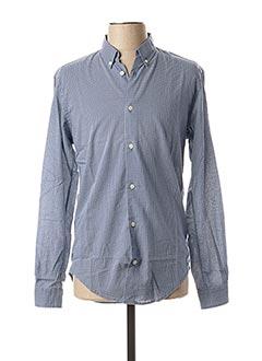 Chemise manches longues bleu TTILIKA pour homme
