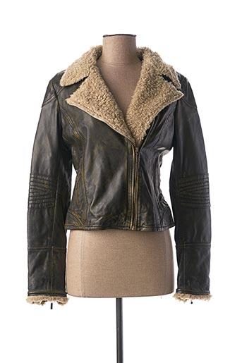 Veste en cuir vert KAPORAL pour femme
