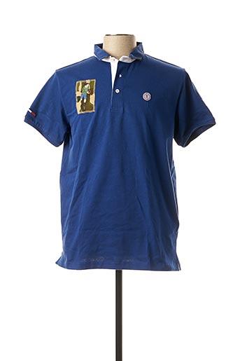 Polo manches courtes bleu SERGE BLANCO pour homme