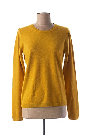 Pull col rond jaune CASHMERE FEELING pour femme