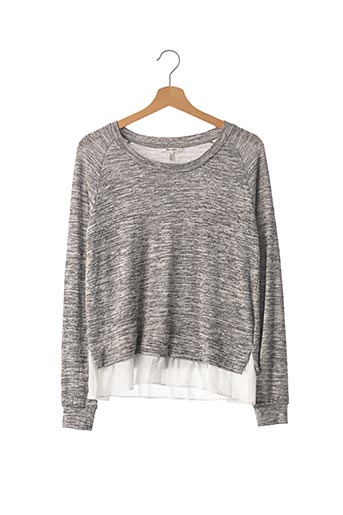 Pull col rond gris TEDDY SMITH pour fille