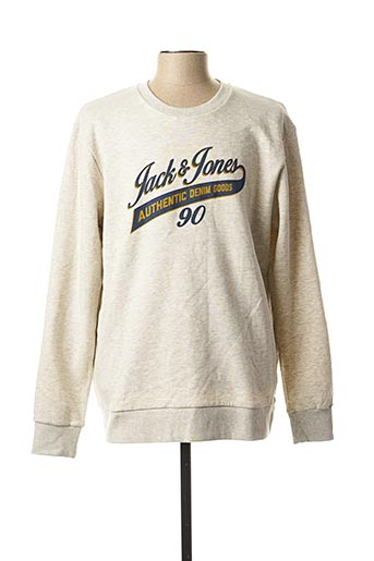 Sweat-shirt beige JACK & JONES pour homme